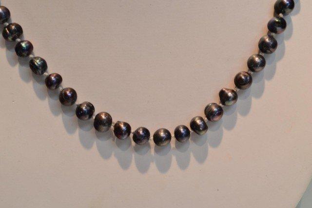 """20: 46"""" Black freshwater pearls and earrings"""