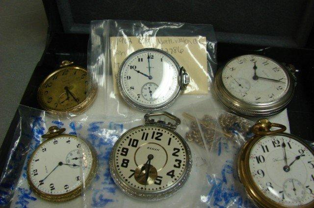 41: 6 pocket watches - 5 Elgin & 1 Hamilton