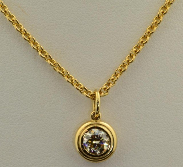 6: 14k yg  Bezel Set Diamond Pendant