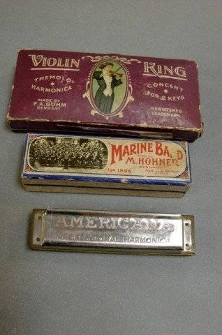 8: 3 Vintage Harmonicas - Hohner & Bohm from Germany