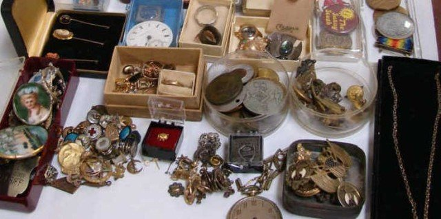 12: Lot of Vintage Pins, Medals, Watch, Jewelry