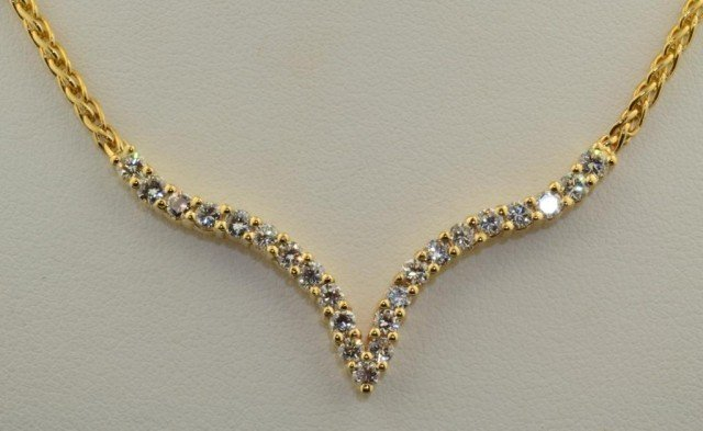 "14: 14k yg  ""V"" Shape Diamond Bar Necklace"