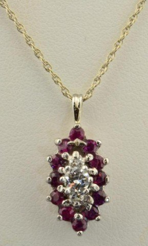 18: 14k  wg  Diamond Ruby Pendant