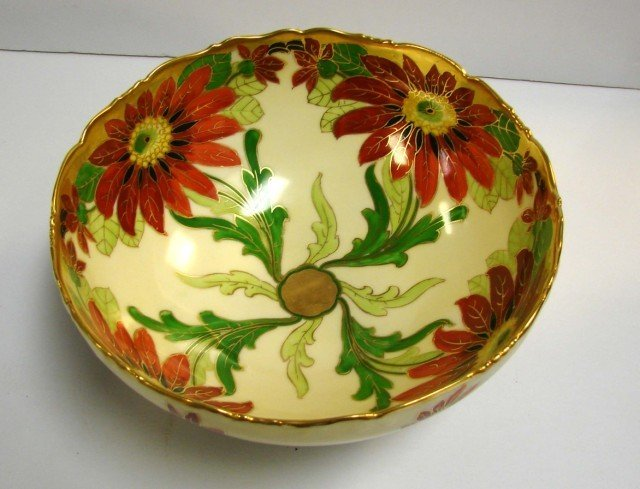 19: Jul. H. Brauer Hand Painted Poinsettia Bowl c1920