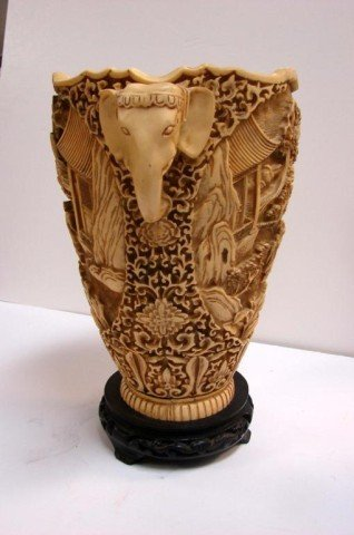 50: Heavy Chinese Vase with Elephant Handles - 2