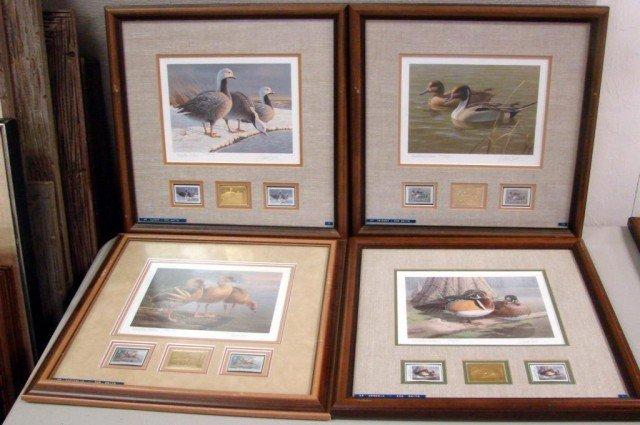 61: 4 Framed Duck Stamp Prints by Dan Smith