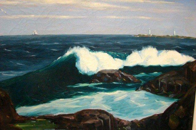 127: Original Oil Breaking Waves by Charles Stepule - 2