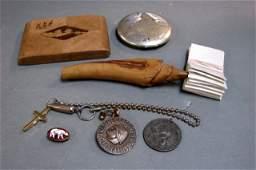 168: Vintage Lot: Medallions, Compact, Cigarette Box