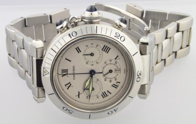 177: Man's Pasha De Cartier Chronograph Watch