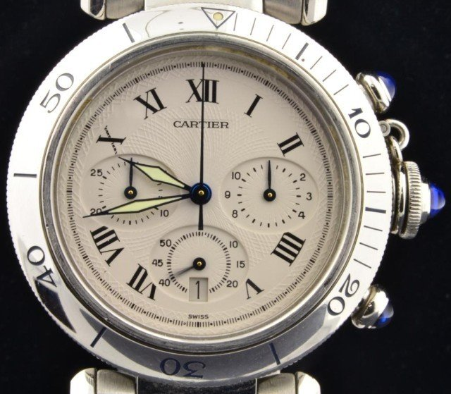 177: Man's Pasha De Cartier Chronograph Watch - 4