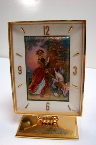 195: Arthur ImHof Hand Painted Enamel Desk Clock