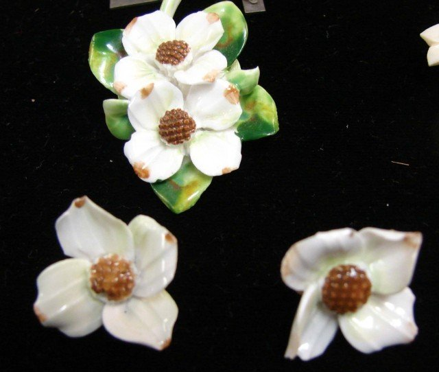 214: Floral Brooch, earrings, Royal Adderly pin, - 2