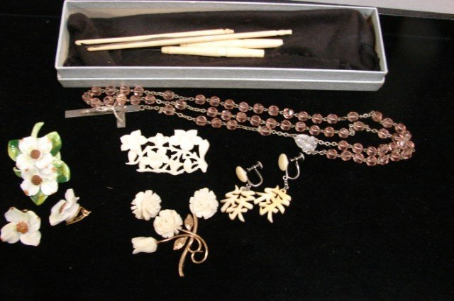 214: Floral Brooch, earrings, Royal Adderly pin, - 4