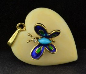 14k Yg Ivory Heart  With Butterfly