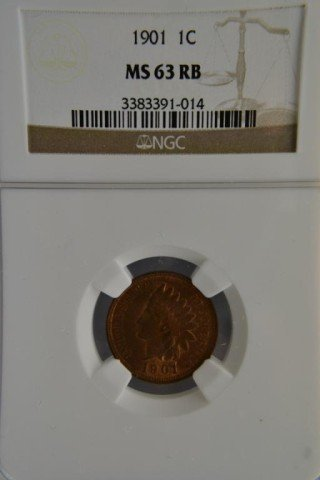 473R: 1901 1c Indian Head Cent NGC MS 63 RB