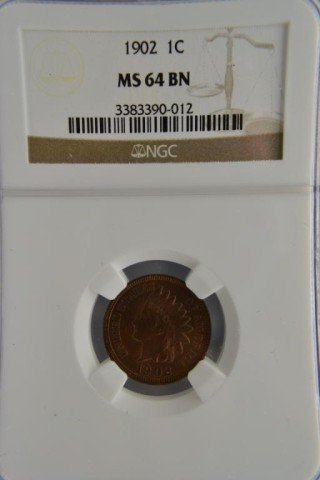 474: 1902 1c Indian Head Cent NGC MS 64 BN