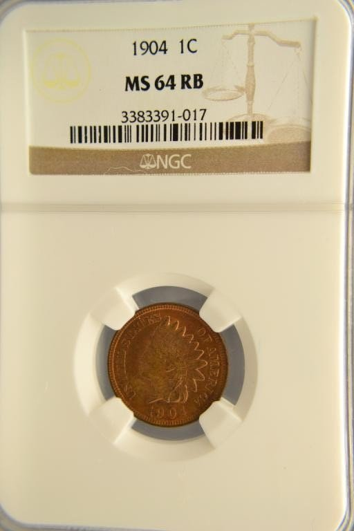 474H: 1904 1c Indian Head NGC MS 64 RB