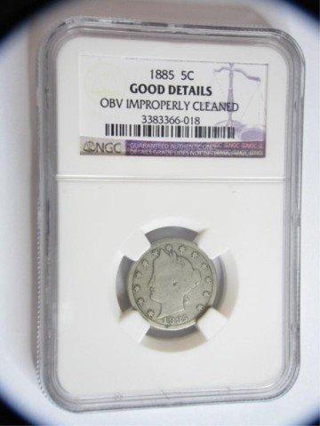 553: 1885 5c Liberty Nickel NGC Good Details OBV I/C
