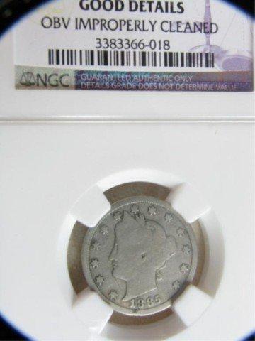 553: 1885 5c Liberty Nickel NGC Good Details OBV I/C - 3