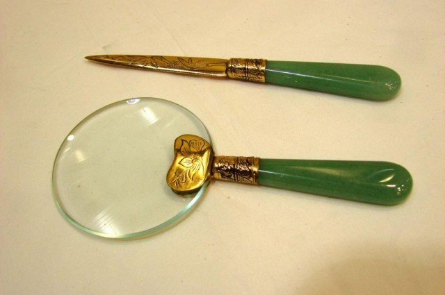 10A: Jade Handle Letter Opener & Magnifying Glass
