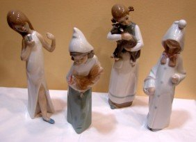 4 Lladro Young Girl Figurines