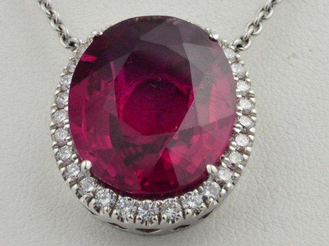 174: 14k wg Pink Tourmaline  & Diamond Pendant