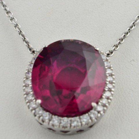 174: 14k wg Pink Tourmaline  & Diamond Pendant - 2