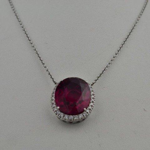 174: 14k wg Pink Tourmaline  & Diamond Pendant - 3