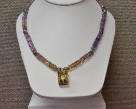 Silver  Ametrine Necklace, Ear &  Ring