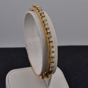 14k Yg Opal & Diamond Bracelet