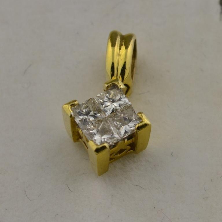 5: 18k yg Princess Cut  Diamond Pendant