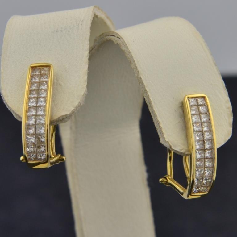 9: 18k yg  1ctw  Princess Diamond Earrings