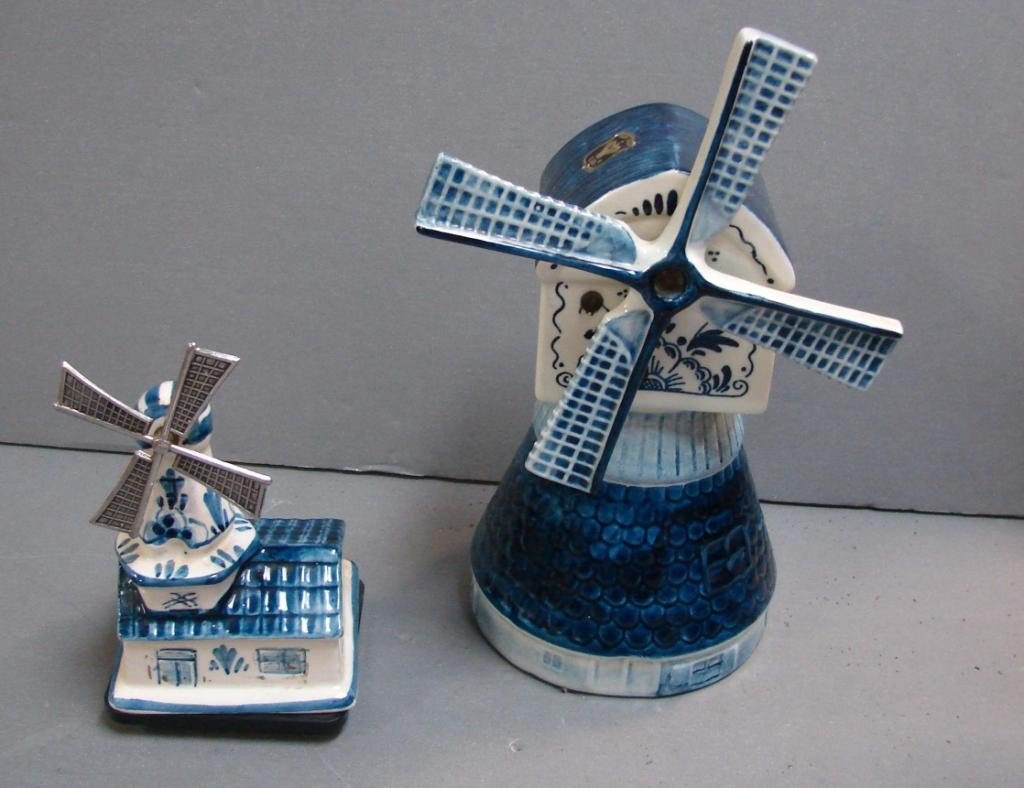 11: 2 Delft Music Box Windmills, one is Reuge