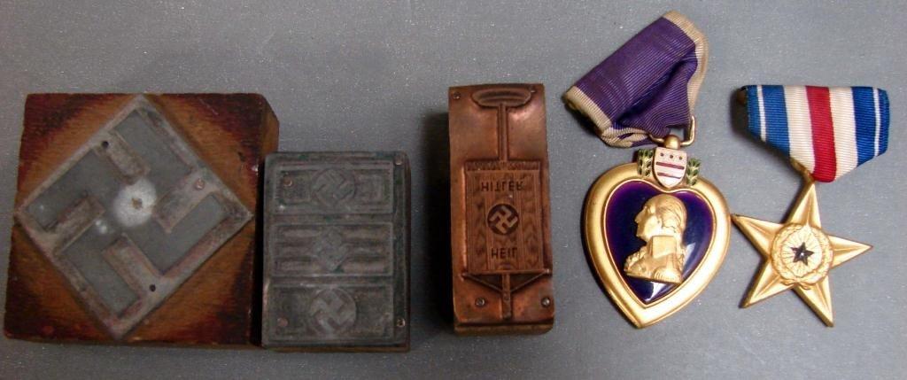 12: Purple Heart & Silver Star Medals, Swastika Metal