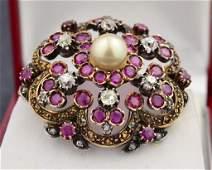41A 14k yg  Vintage Diamond  Ruby Pin