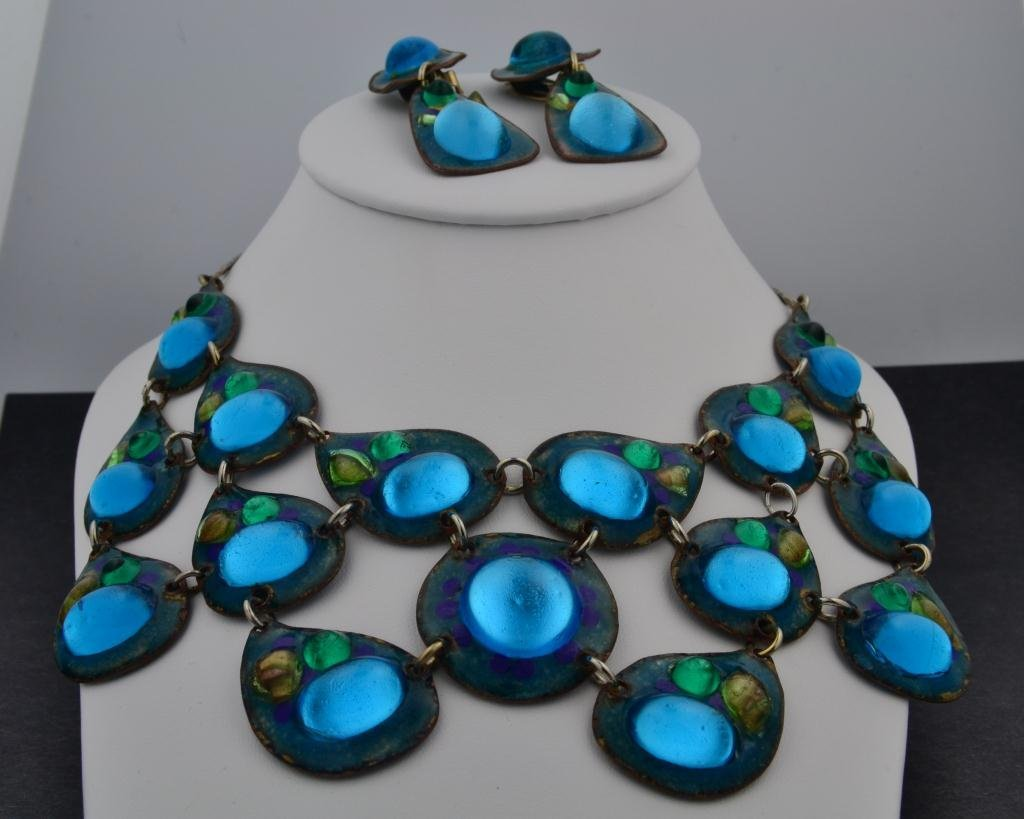 97: Sterling Peacock Necklace & Earrings