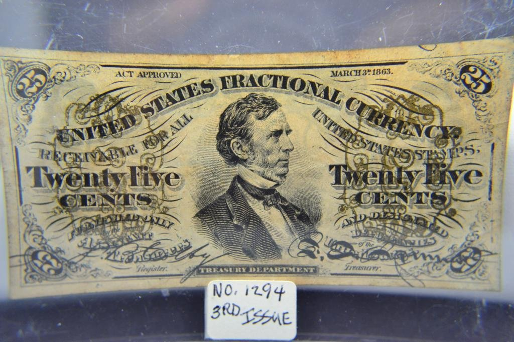 1405: 1863 25 cent Fractional Currency Xtra Fine