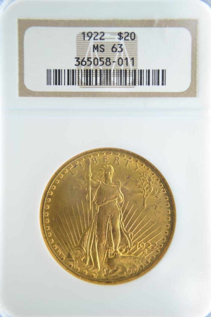 1280H: 1922 $20 Saint Gaudens NGC MS 63