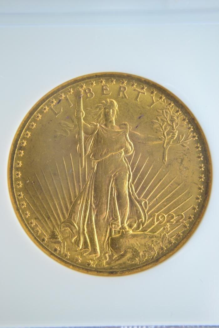 1280H: 1922 $20 Saint Gaudens NGC MS 63 - 2