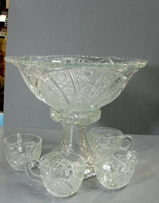 4: Vintage Pressed Glass Punch Bowl on Stand + 4 cups