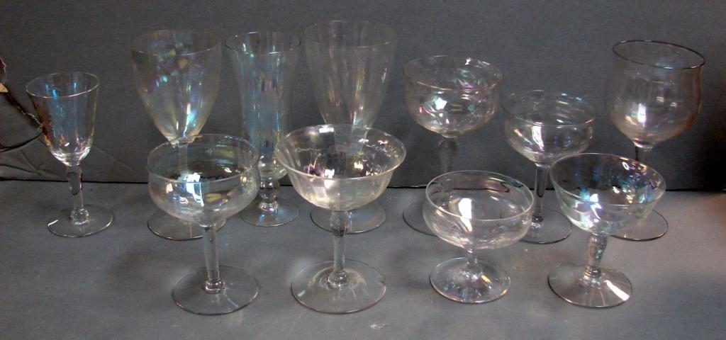 5: 70+ iridescent stemware glasses 1920's