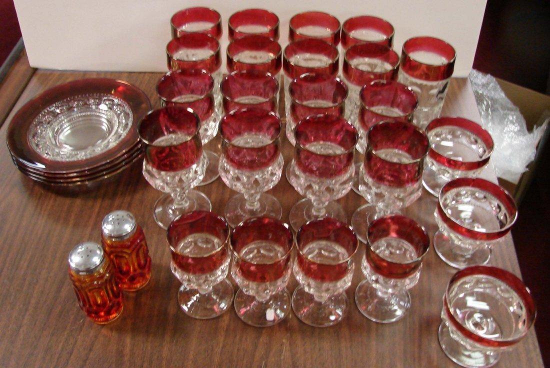 13: 28 pcs. Kings Crown Depression Glassware