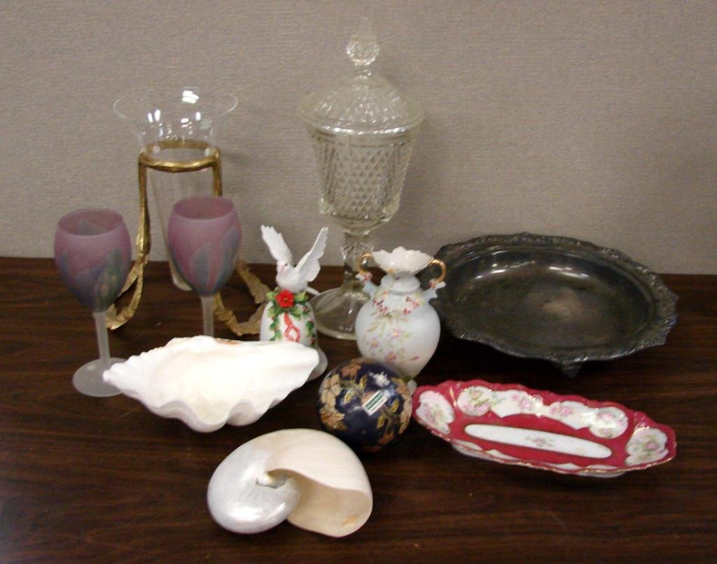 15: Lot of Vintage Glass, shells, silver plate bowl