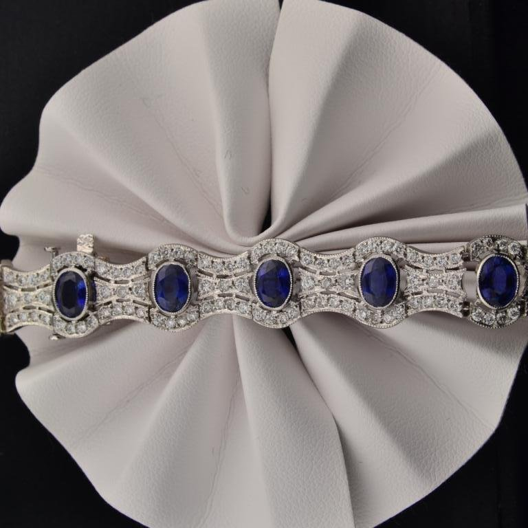 37: Platinum Sapphire & Diamond Bracelet