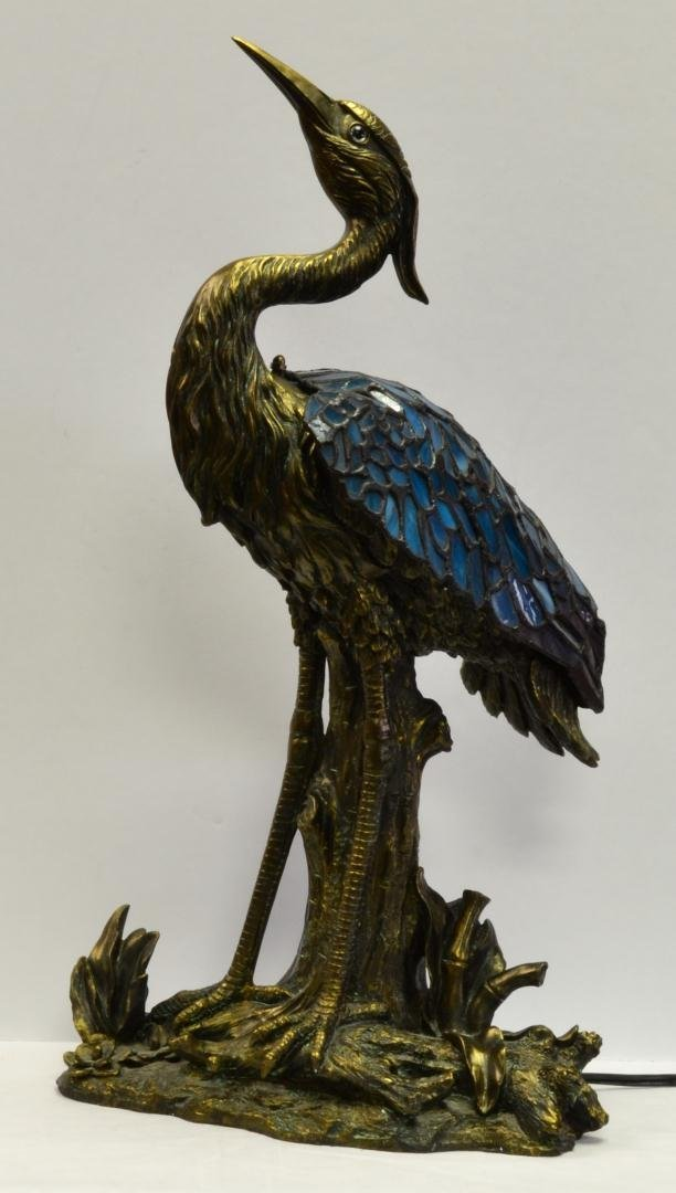 "114: Stained Glass & Bronze ""Heron"" Table Lamp - 3"