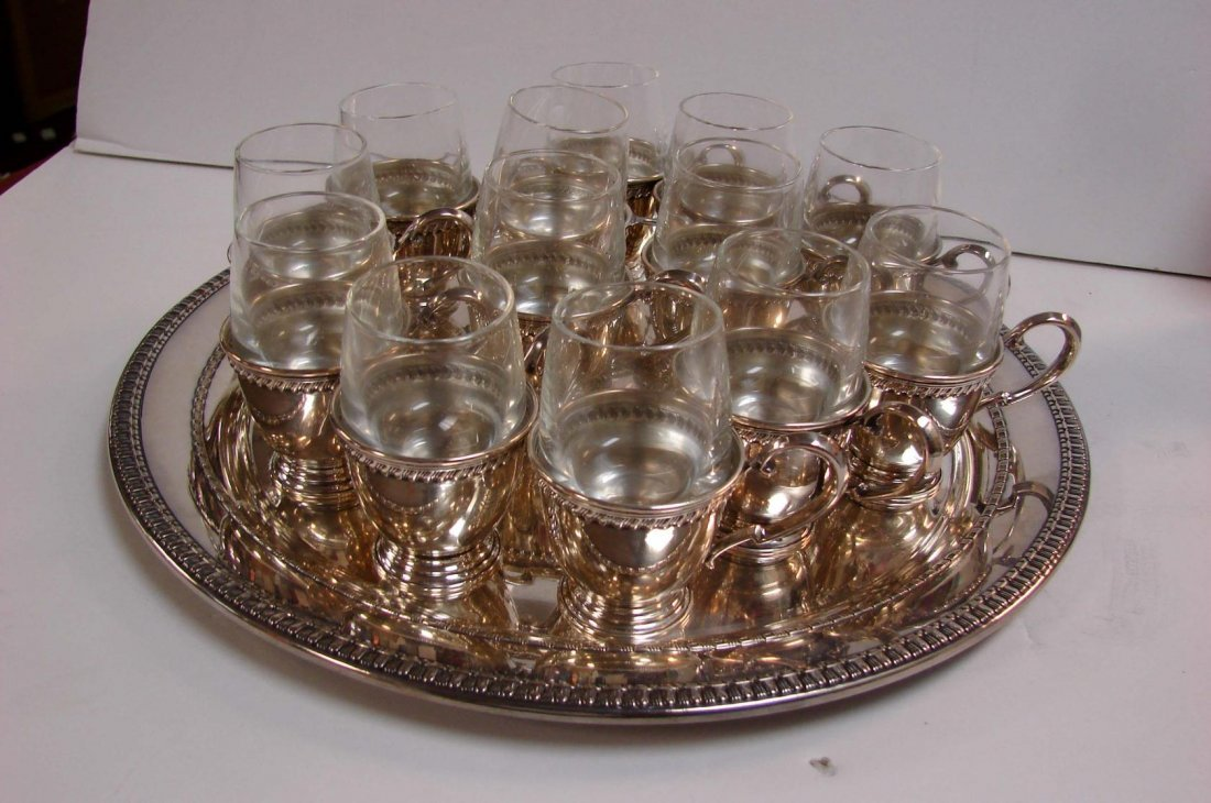 170: Sterling Tray & 13 Sterling Italian Coffee Cups