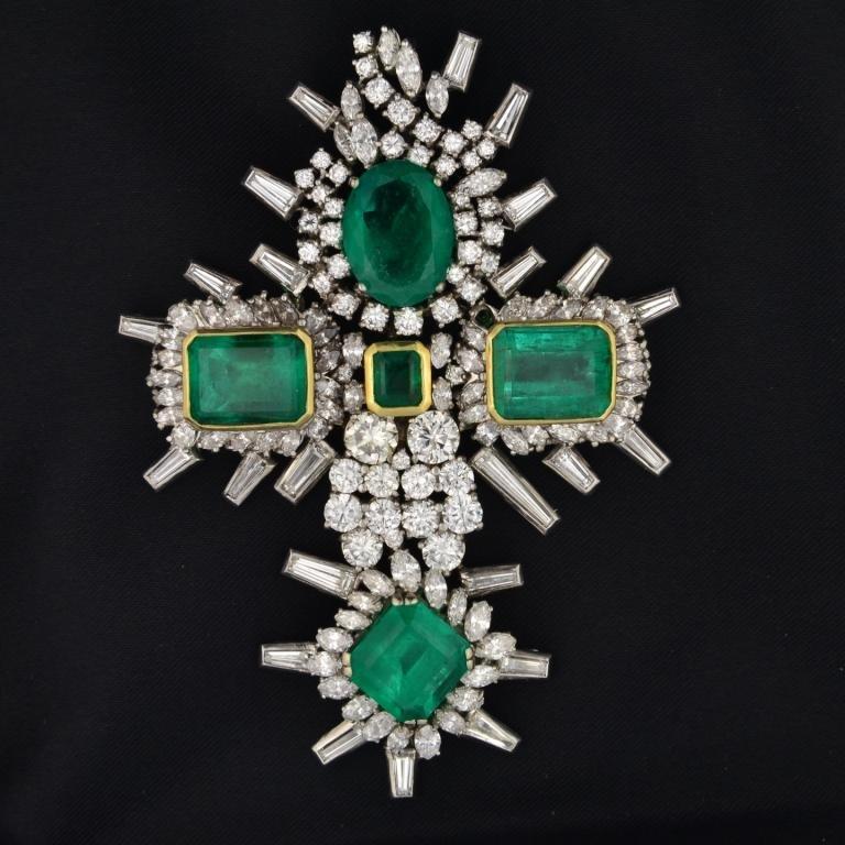 338: Platinum Emerald & Diamond Cross