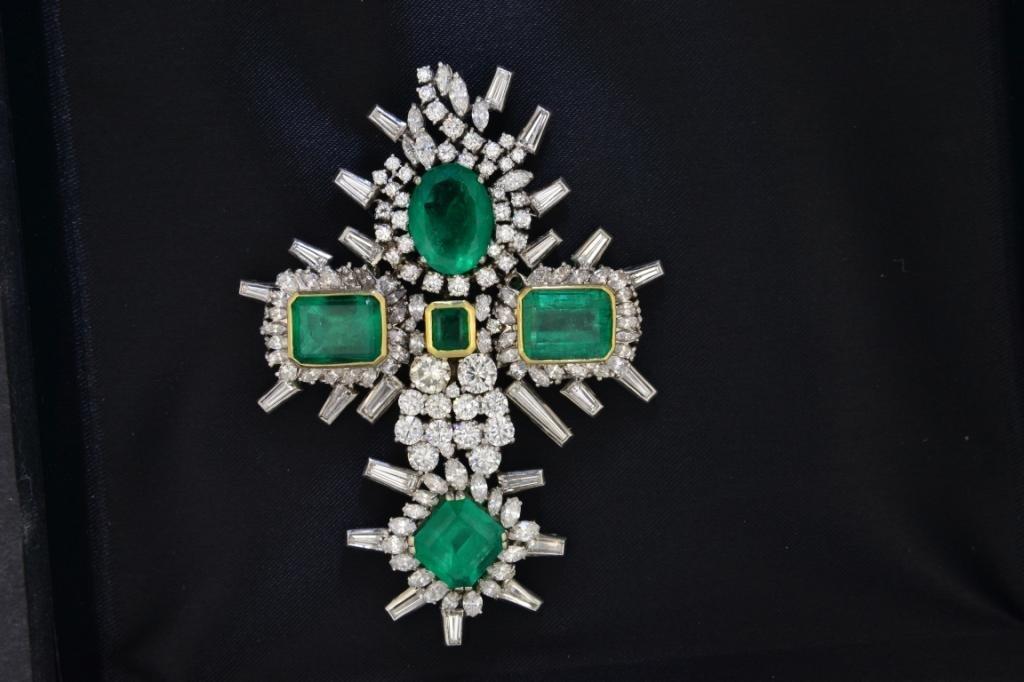 338: Platinum Emerald & Diamond Cross - 2