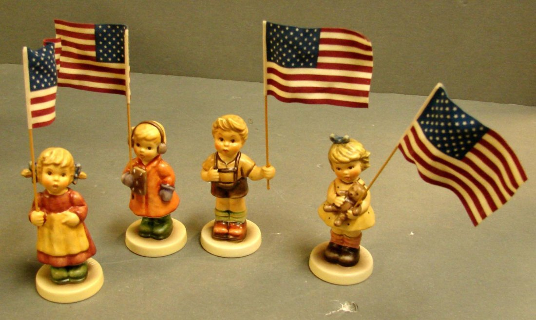 4B: 4 Hummels: Children Holding American Flags
