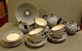 260 Lomonosov Russian Cobalt Net Tea Set 24 pcs